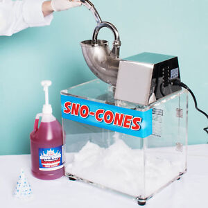 Commercial Snow Cone Ice Shaver Machine Professional 500lb h 4 Gallon Syrup