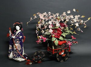 Gofun Doll Anesama Doll And Flower Sakura Carriage Early 20th Period Geisha