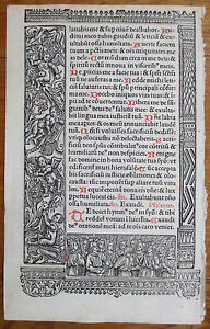 Book Of Hours Leaf Hardouin Woodcut Rare Apocalypse Ornament 1510