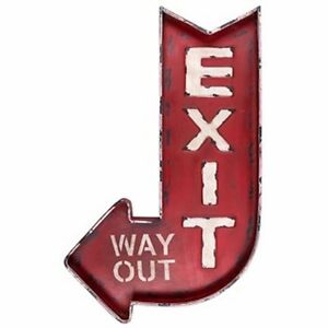 Exit Way Out Huge Metal Wall Signs Retro Movie Theater Industrial Exit