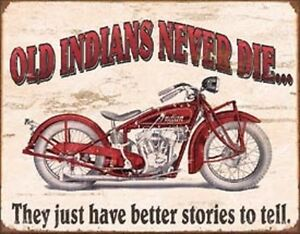 Old Indians Never Die Motorcycle Signs Harley Davidson Chief Man Cave Decor Dad