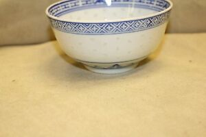 Chinese Blue White Porcelain Hand Painted Bowl Preowned In Vgc