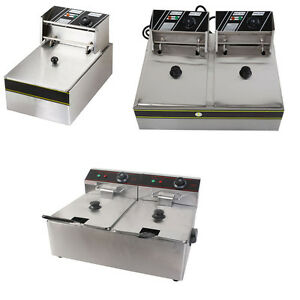 6 11 12 Liter Electric Countertop Deep Fryer Dual Tank Commercial Restaurant