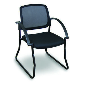 Marvel Mesh Sled Base Visitor Chair W arms 24 25 24 5 x24 75 x31 75 32 25 Black