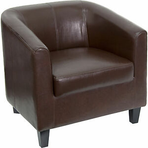 Flash Brown Leather Office Guest Chair Reception Chair bt 873 bn gg