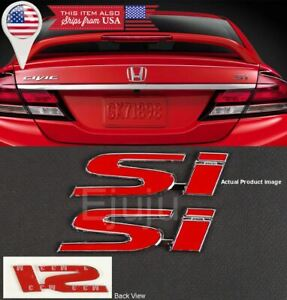 2 4 3 X 1 Metal Red Si Emblem Decal Sticker Badge For Civic Trunk Fender Lip