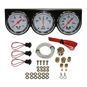 Universal 2 5 8 3 Gauge Set Chrome Bezel Water Oil Pressure Ammeter Kit