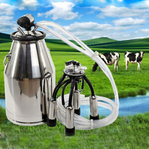 Portable Stainless Milking Machine Dairy Cow Milker Bucket Tank Barrel Cattle