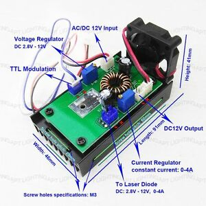 445nm 450nm 1w 3 8w Blue Laser Module Driver Board 12v ttl heat Sink fan