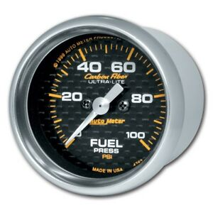 Auto Meter Carbon Fiber 52mm 100 Psi Electronic Fuel Pressure Gauge