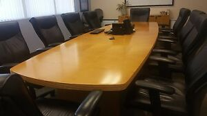 reduced Price Conference Room Set 12 Table Chairs Whiteboard Cabinet