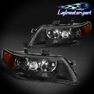 2004 2008 Acura Tsx Black Factory Style Projector Headlights Head Lamps Pair