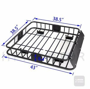 220 Lbs Universal Black Steel Cargo Carrier Roof Rack Basket Cross Bar Suv htt