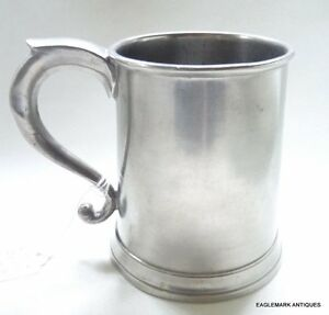 Antique American Pewter Pint Mug T Danforth And S Boardman