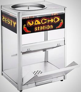 Tempered Glass Nacho Chip Popcorn Warming Station Sport Events Stainless Steel