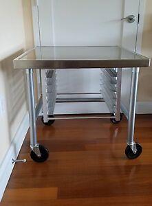 Advance Tabco Mt mg 300 Stainless Steel Mobile Mixer Table With Tray Slides