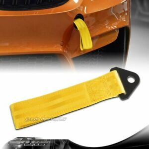 Universal High Strength Yellow Racing Tow Towing Strap Hook Front Rear Bumper
