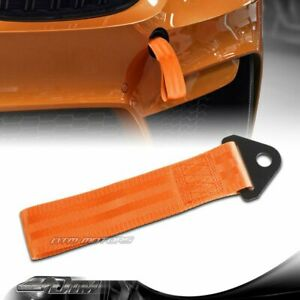 Universal High Strength Orange Racing Tow Towing Strap Hook Front Rear Bumper