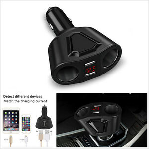 Dc 12v Car Cigarette Lighter Socket Splitter 3 1a Dual Usb Charger Power Adapter