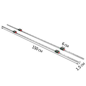 Linear Rail 15 1500mm 2x Linear Guideway Rail 4x Square Type Bearing Block