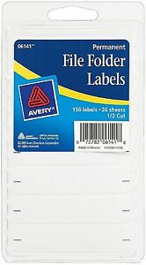 Avery Permanent File Folder Labels 2 75 X 0 625 Inches White 156 Ea