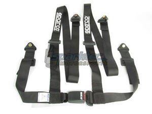 Sparco Racing Seat Belt Safety Harness Street Tuner Black 2 inch 4 point Bolt in