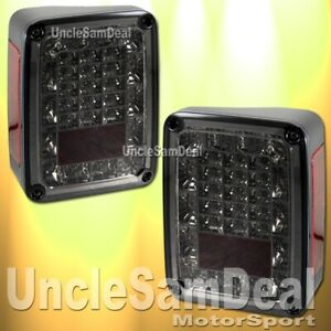 Jeep Jk Wrangler Smoke Lens Chrome Red Led Tail Lights Pair Direct Plug In