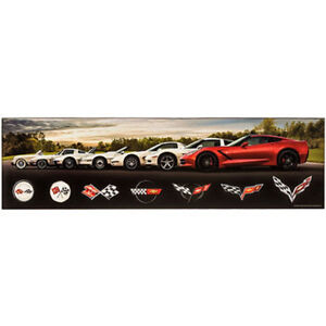 Chevrolet Corvette History Evolution Logo Vintage Style Wooden Decor Chevy 69