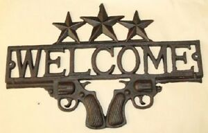Cast Iron Star Gun Welcome Decor Pistol Western Farm Cowboy Signs