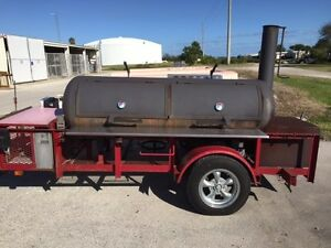 Bbq Smoker Trailer Reverse Flow Propane Burners Wood Box Gas Grill