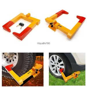 Wheel Chock Lock Auto Car Anti Theft Towing Clamp Boot Tire Claw Trailer