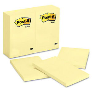 72 Post it Notes Original Notes 4 X 6 Canary Yellow 100 sheet Pads