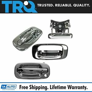 Front Exterior Door Handle Tailgate Chrome Kit Set Of 4 For Silverado Sierra Pu