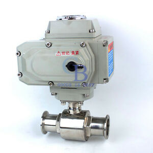 3 4 Motorized Electric Actuated Ball Valve Stainless Steel 304 Tri Clamp Dc24v