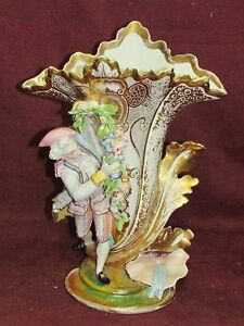 Large Antique Old Paris Porcelain Figural Vase