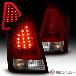 For 05 07 300 Red Clear Led Tail Lights W Fiber Optic Led Neon Light Tube