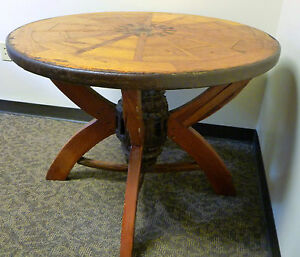 40 Round Rustic Antique Wagon Wheel Table With Hub Pedestal Base