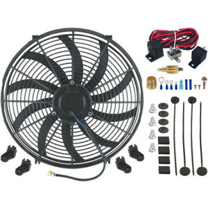 16 Inch Electric Radiator Cooling Fan 120w High Power Cfm Thermostat Switch Kit
