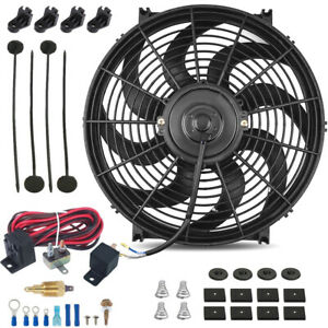 14 Inch Electric Cooling Radiator Fan 3 8 Probe Ground Thermostat Switch Kit