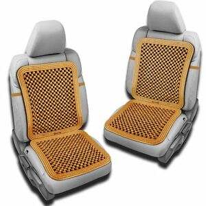 Zento Deals 2x Comfortable Natural Beaded Massage Car Seat Cover Cushion