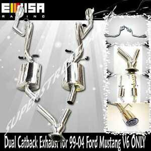Emusa Catback Exhaust System W Dual Tips For 99 04 Ford Mustang 3 8l V6