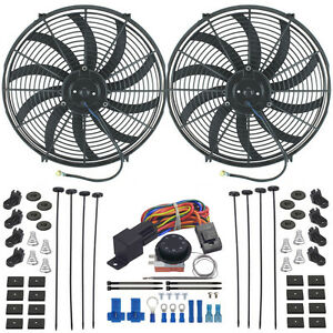 Dual 16 Inch Electric Radiator Fan S Adjustable Thermostat Fan Controller Kit