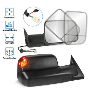 Towing Mirrors Power Heated Led Signal Lights For 98 02 Dodge Ram Lh