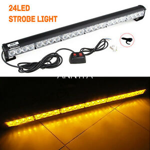 Amber 24 Led Emergency Warning Strobe Light Bar Traffic Advisor Roof Flash Lamps
