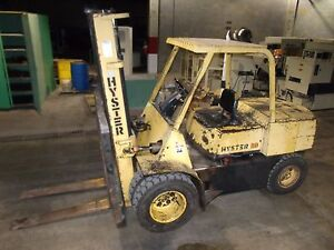 Hyster 80 Diesel Forklift Duel Pneumatic Tire 8100lb Capacity 2387hrs Side Shift