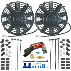 Dual 8 Inch High Flow Electric Fans 3 8 Ground Thermostat Switch Kit Chevy Bmw