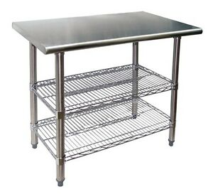 24 X 24 Stainless Steel Work Table With 2 Adjustable Chrome Wire Under Shelves