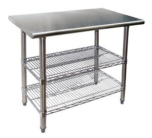 30 X 24 Stainless Steel Work Table With 2 Adjustable Chrome Wire Under Shelves