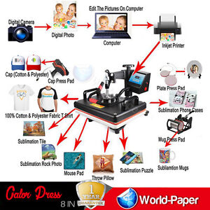 8 In 1 Heat Press Machine For T Shirts Machine Combo Kit Swing Away Sublimation