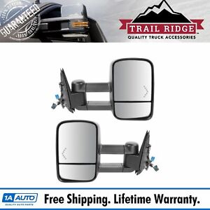 Trail Ridge Tow Mirror Power Heated Red Chevron Signal Black Pair For Gm Truck